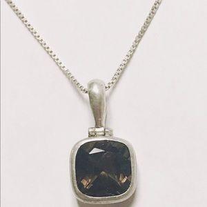 Jewelry - Sterling Silver Cushion Smoky Quartz Pendant+Chain